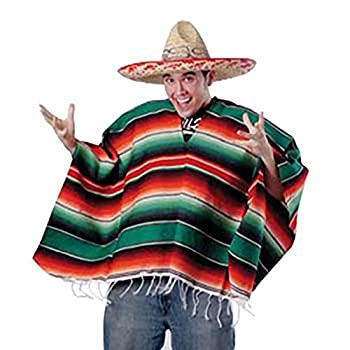 Unisex Bright Striped Cotton Mexican Style Poncho Halloween Costume  HAT NOT INCLUDED
