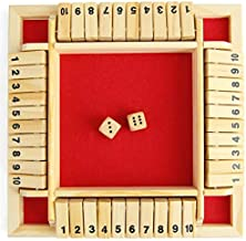 Meideli Shut The Box Dice Game,Classic 4 Sided Wooden Board Christmas Tabletop Toy with Dice for Kids Adults Learning Numbers Strategy Risk 2-4 Players Red