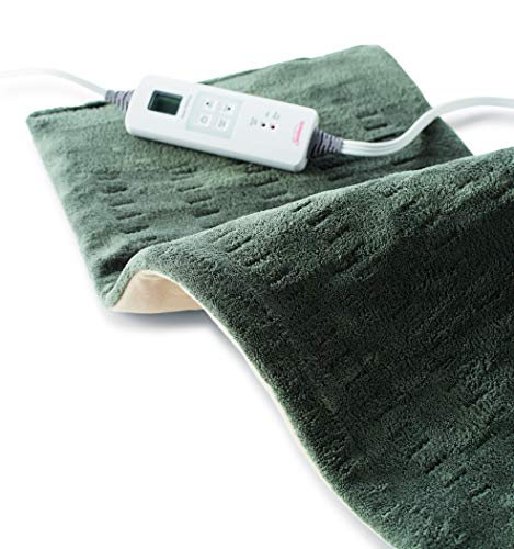Sunbeam Heating Pad for Fast Pain Relief | XLarge King XpressHeat 6 Heat Settings with AutoShutoff | Green 12 x 24 Inch XLarge