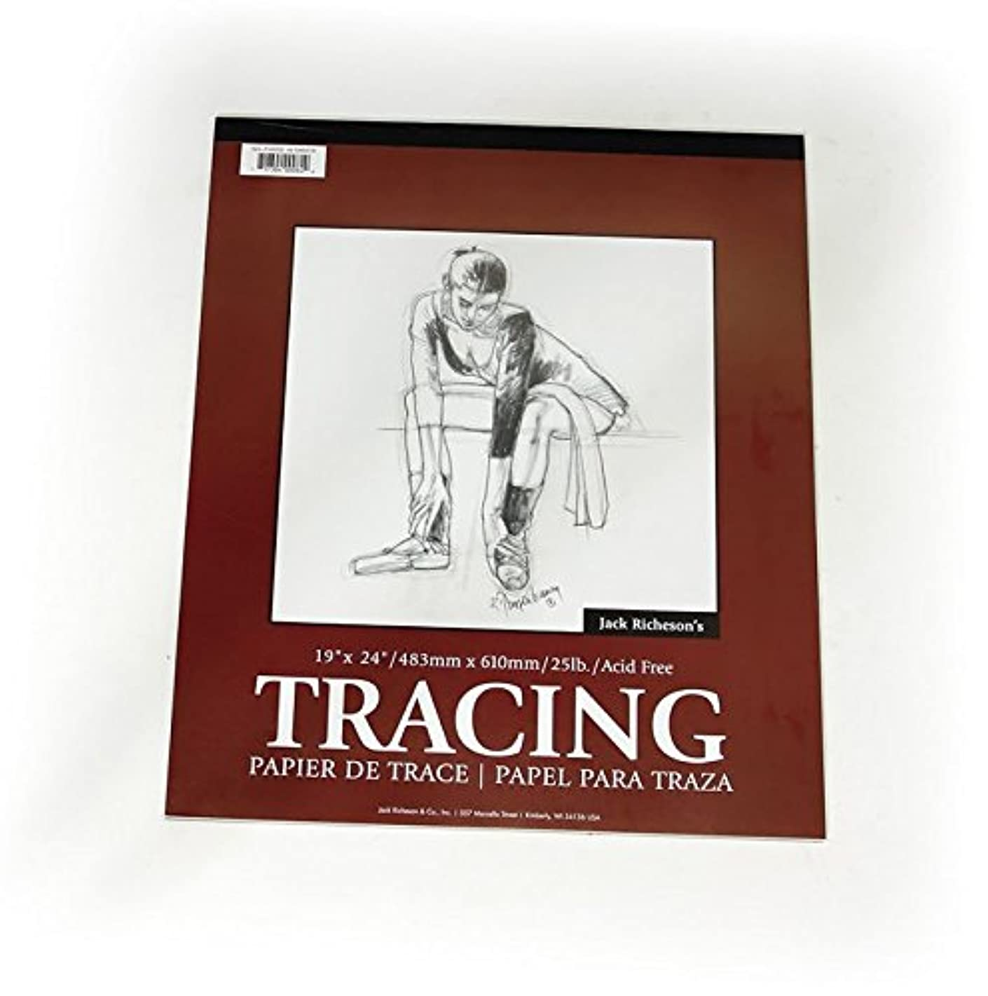 Jack Richeson Ape Binding Transparent Medium Weight Tracing Paper Pad (Pack of 50), 19 x 24