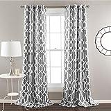 Lush Decor Edward Trellis Curtains Room Darkening Gray Window Panel Set for Living, Dining, Bedroom (Pair), 95' L