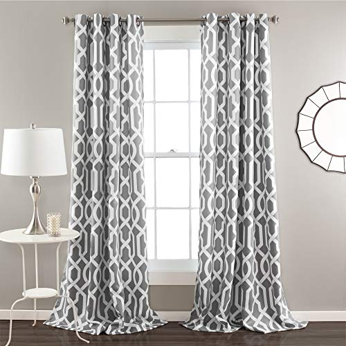 "Lush Decor Edward Trellis Curtains Room Darkening Gray Window Panel Set for Living, Dining, Bedroom (Pair), 108"" L"