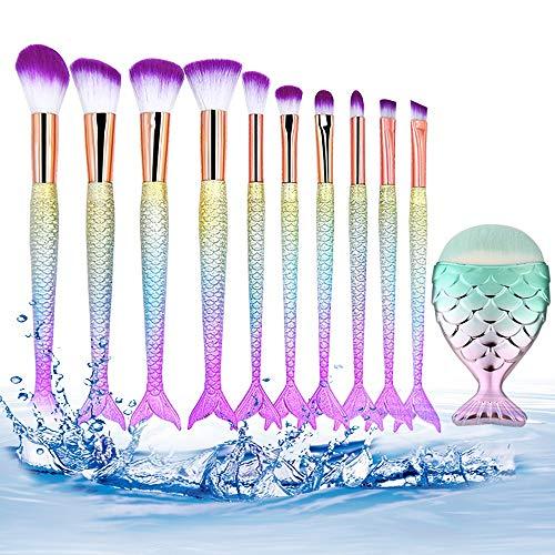 Brosses 10pcs coloré Unique Pinceau de Maquillage de sirène Ensemble Cheveux synthétiques avec Manche en Plastique brosses cosmétiques Maquillage pour Les Femmes (Color : 02, Size : Libre)