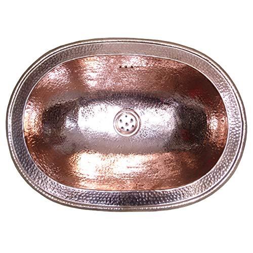 L'ORIENT Interior Metallwaschbecken | Kupfer | 48cmx34cm | orientalisches Waschbecken aus Metall, Hammerschlag bearbeitet