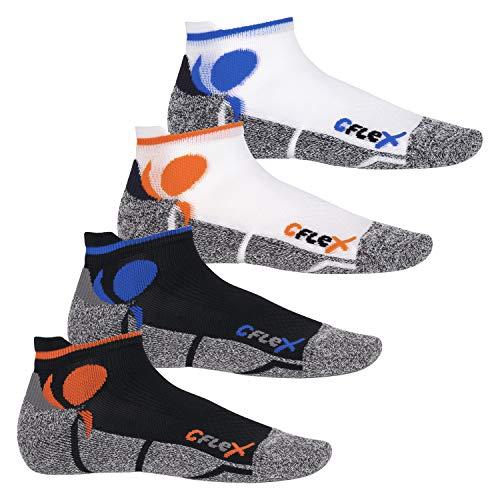 CFLEX Damen und Herren Running Funktions-Sneakersocken (4 Paar) Laufsocken- All Colours 43-46