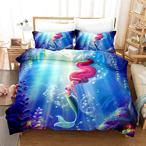 MICOLOD Disney Ariel Mermaid - Juego de cama infantil de 2 piezas, diseño de anime, funda de edredón con cremallera, funda de almohada 100 % poliéster para niños y niñas (135 x 200 cm, 12)