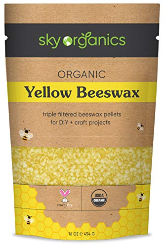 Sky Organics USDA Organic Yellow Beeswax Pellets (453 g) -Superior Quality Pure Bees Wax No Toxic Pesticides - 3x Filtered Easy Melt Pastilles - For DIY Candles Skin Care Lip Balm
