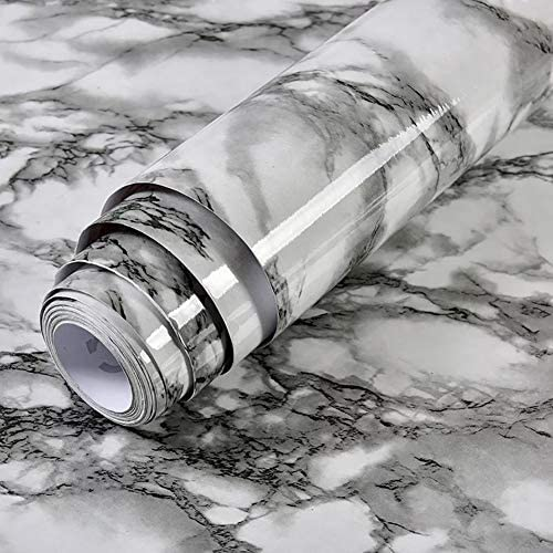 Yancorp White and Black Wallpaper Marble Easily Removable Countertops Black and White Wallpaper product image