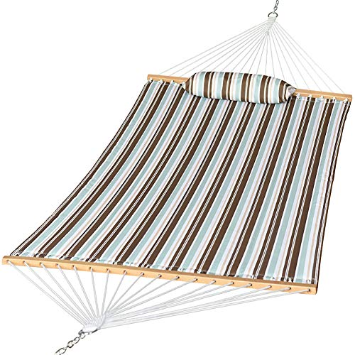 Prime Garden Quilted Fabric Hammock with Pillow, Hardwood Spreader Bars, 2 People (Blue/Brown)