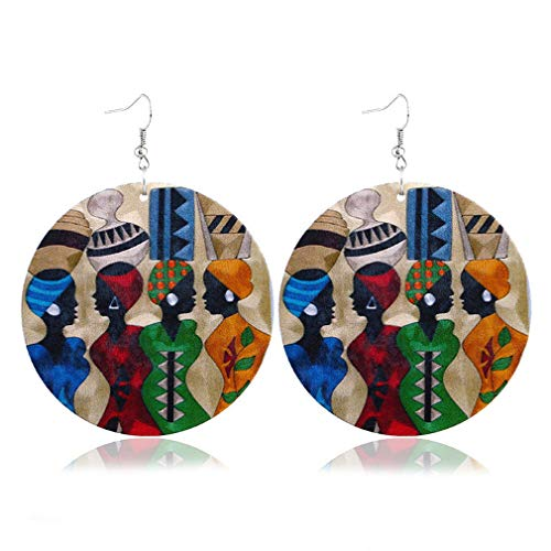 Hengxing afrikanische Ohrringe Vintage Holz Kreis Muster Tropfen baumeln Frauen Haken