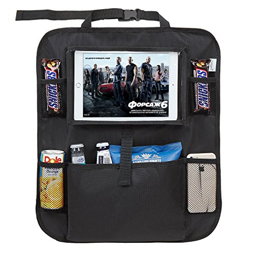 Tech Traders  Back Seat Car Organiser with 10.1' iPad/Tablet Holder Touch Screen Kids Kick Mat Seat Protector Cover Universal Fit Multi Pockets Children's Storage - Black