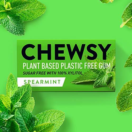 Goma masticable de menta, natural y sin plástico, sin azúcar, sin aspartamos, 100% xilitol + apto para dientes | vegano 15 g (paquete de 12, 120 piezas)