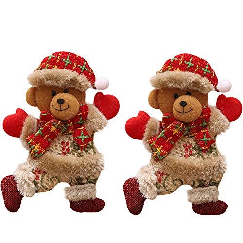 Ansenesna Anhänger Weihnachten Deko Figuren Weihnachtsanhänger Bär Weihnachtsmann Schneemann Elch Christbaumschmuck (Bär 2PC)