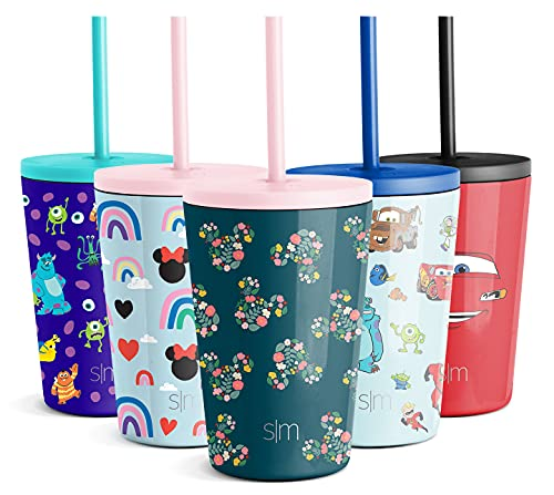 Simple Modern Trinkflasche für Kinder, wiederverwendbar, mit Strohhalm, Schnabeldeckel, isolierter Edelstahl, Thermosbecher für Kleinkinder, Mädchen, Jungen, 340 ml, Disney: Mickey Mouse Floral on Riptide