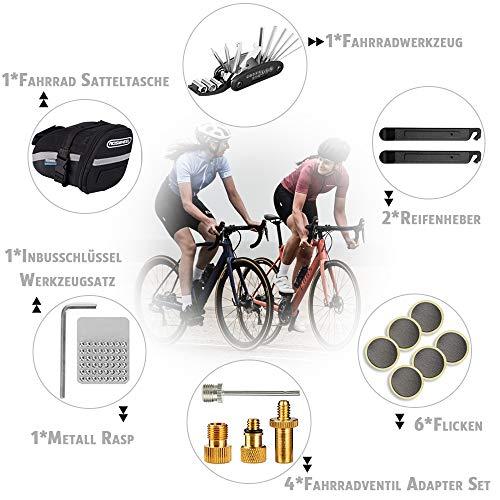 TBoonor Fahrrad Satteltasche mit 16 in 1 Werkzeuge Fahrrad Reparatur Set umfassen Fahhradtasche und Werkzeugsets und Fahrradventil Adapter die Fahrrad-Reparatur für Mountainbikes und Rennräder - 2