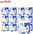 20 Rolls Silky Smooth Soft Professional Series Premium 3-Ply Toilet Paper Home Kitchen Recycled Toilet Tissue Soft Strong Highly Absorbent Hand Towels White