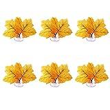 Juego de 6 almohadillas de hojas artificiales, para decoración del hogar, cangrejos, jardinería, peceras, almohadilla de hojas artificiales para jugar al escondite y decoraciones de peceras