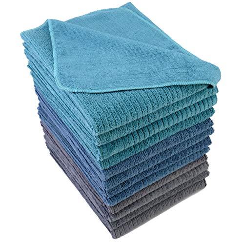 Polyte - Paño Multiusos de Cocina - Microfibra de Tela de Toalla Acanalada - Premium - Azul, Gris, Verde Azulado - 40,6 x 71,1cm - Pack de 12