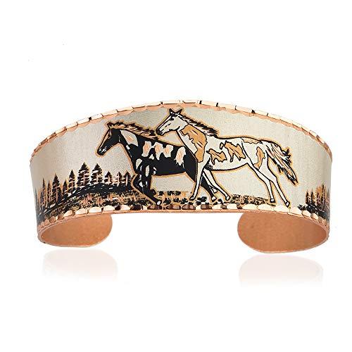 Brazaletes de cobre de la vida silvestre de los hombres y las mujeres, muchachos y muchachos, brazalete ajustable, hecho a mano Blanco