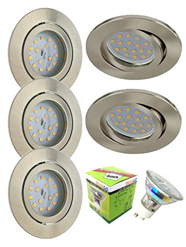 Trango 5er Set LED Einbaustrahler rund aus Alu-Druckguss TG6738-05B inkl. 5x GU10 LED Leuchtmittel I Deckenstrahler I Deckenspots I Spots I Einbauspots I Einbauleuchten