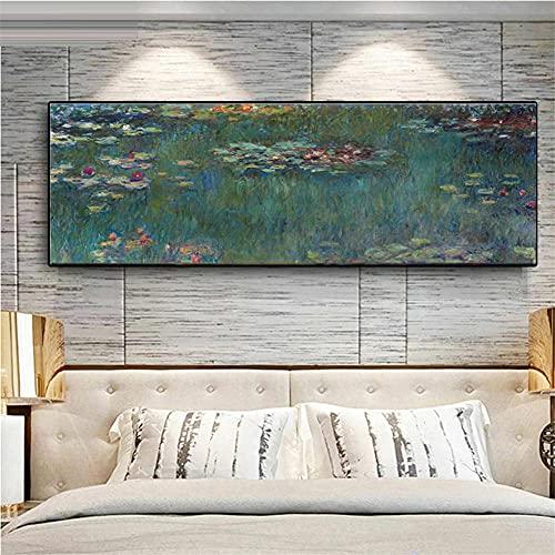 DIY 5D Diamante Pintura por Número Kit Nenúfares Monet Bricolaje pintura diamante Bordado kit taladro completo Diamante de imitación Arts Craft Home Wall Decor (30x90cm,12x36in)M3476