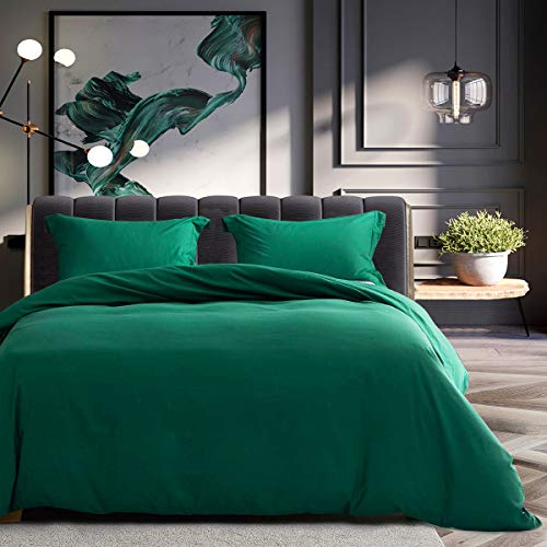 SERAINA Ultra Soft 100% Brushed Microfiber 500 Thread Count 3 Pieces Bedding Sets,Duvet Cover Queen Size with Comforter Cover and 2 Pillowcases-Green-90x90inches