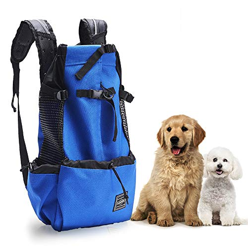 Woolala Light Weight Pet Carrier Backpack for Small and Medium Dogs, Veterinarian Approved Safe Bag for Travel - Easy Take Space Saving - Blue XL
