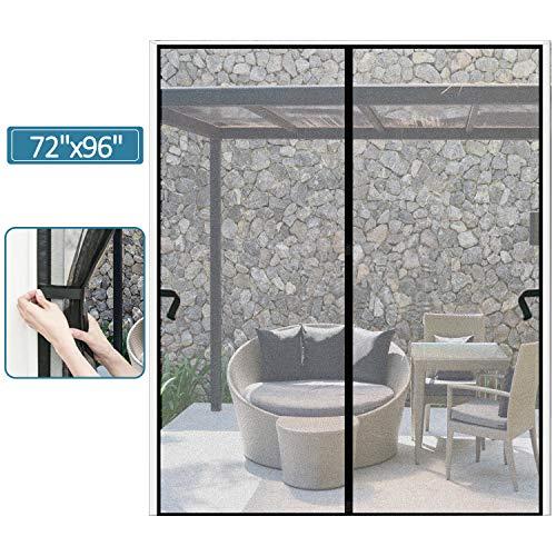 Magnetic Screen Door 72 x 96 inch, CHUSSTANG Heavy Duty French Door Mesh Curtain Magnet Patio Door Cover Auto Closer Sliding Door Screen Door with Full Frame Hook and Loop Keep Bugs Out