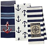 3 Nautical Anchor Themed Decorative Cotton Kitchen Towels with Navy, Red, White, Blue Print   1 Embroidered and 2 Printed Towel Set for Dish and Hand Drying