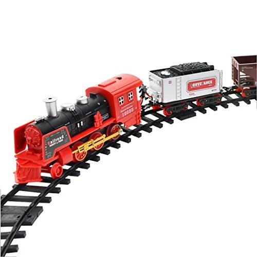 Tren de control remoto, AmaMary Transporte de Control remoto Car Electric steam smoke RC set de tren modelo de Juguete de Regalo (B)