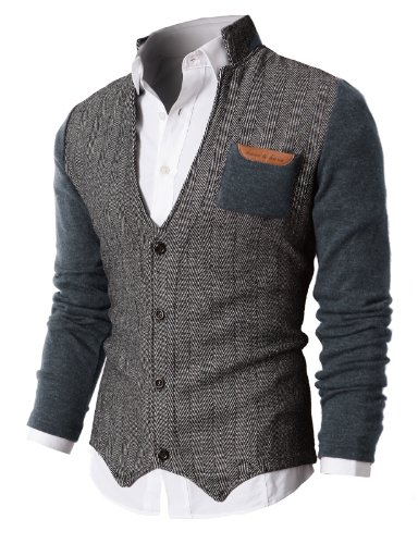 H2H Mens Herringbone Cardigan Sweater of Knitted Sleeves Gray US 3XL/Asia 4XL (KMOSWL015)