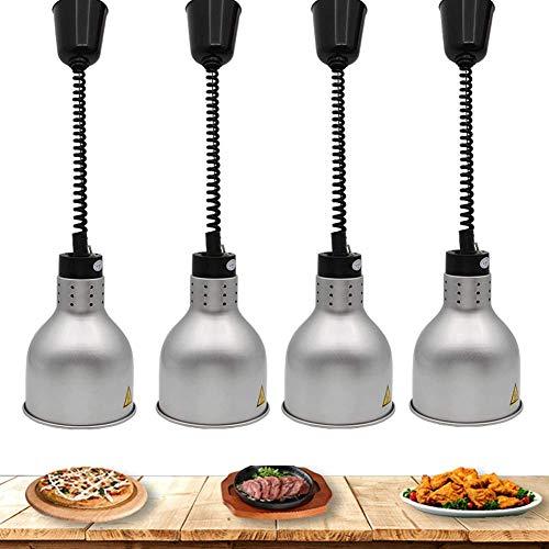 Aprilhp Lampada per scaldavivande, Retrattile Lampada di Calore Alimentare Buffet Forniture per ristoranti Attrezzatura da Cucina Lampadario a Sospensione Regolabile Lampadario 250W, 4-Pack