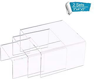 DYCacrlic 2 Pack 3 Tier Acrylic Riser Display POP Stand for Lego Funko Figures Arts Crafts in Curio Cabinets, Clear Jewelry Display Riser Shelf Showcase Store Fixtures Table - Two Sets 3 x 4 x 5 Inch