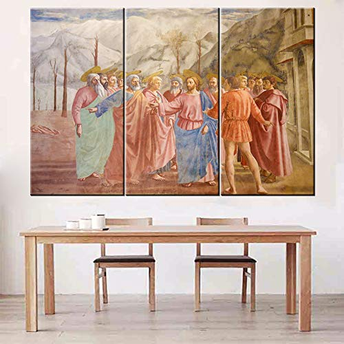 TUMOVO Wall Decorations for Living Room Renaissance Famous Painting Canvas Wall Art The Tribute Money Masaccio Artwork 3 Panel Framed Stretched Ready to Hang Poster and Prints(60Wx40H inches)