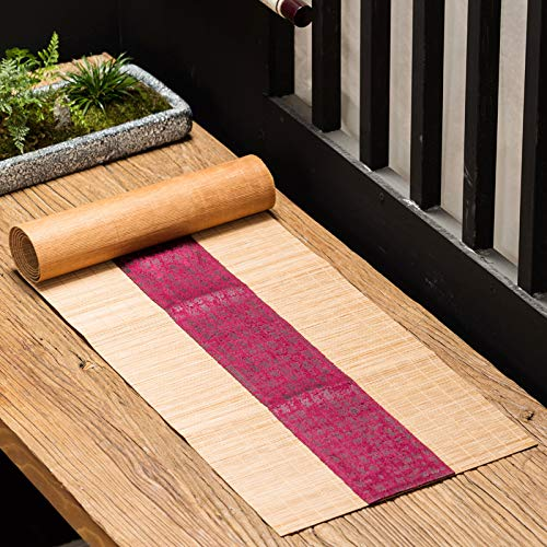 Retro Bamboo Mat and Linen Table Runner, Tea Table Decoration, Rustic 30x120cm