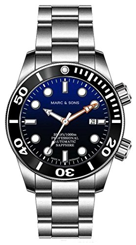 MARC & SONS 1000 M Orologio automatico da sub blu, vetro zaffiro, valvola...
