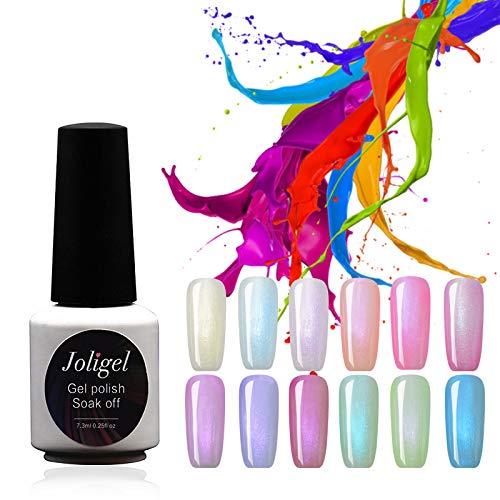 Joligel 12pcs 7.3ML Gel-Nagellack UV-LED-Pastell-Bonbonfarben Perlmutt-Finish Perleffekt NEUESTE ANKUNFT Semi-permanente Maniküre-Nailart-Set für den Frühlingssommer, mit kostenlosen Displayringen