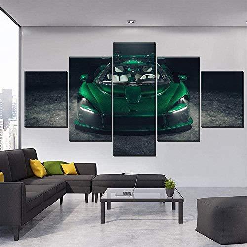 QMCVCDD 5 Teilig Kunstdrucke Modern Wandbilder XXL Wanddekoration Design Wandbild Wohnzimmer Wohnung Deko Grüner Sportwagen Mclaren Gemälde Bilder