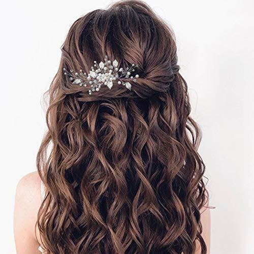 Mayelia Perlen-Braut-Haarkamm, Kristall, Silber, Kopfschmuck, Blatt, Brautschmuck, Haarschmuck für Frauen und Mädchen