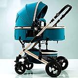 LYXY Cochecitos compactos for bebés Convertibles,Cochecito de Cochecito,Carro de Cochecito portátil con arnés de 5 Puntos y Canasta de Alta Capacidad for bebés y niños pequeños (Color : Green)