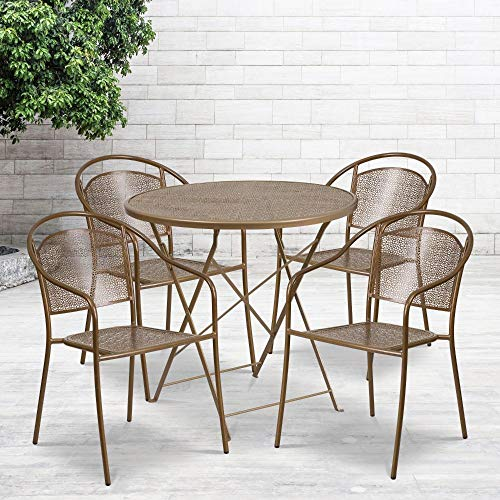 Flash Furniture Commercial Grade 30' Round Gold Indoor-Outdoor Steel Folding Patio Table Set with 4 Round Back Chairs