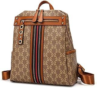 حقيبة ظهر أنيقة من SAGA بشريط ملون وجيوب خارجية لون كاكي / بني فاتح