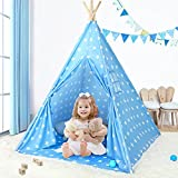 Kids Teepee Play Tent for Kids with Cute Star Pattern, Foldable Teepee Playhouse Toy for Girls and Boys, Portable Children Gift for Baby Toddler to Play Indoor and Outdoor Games(Blue)