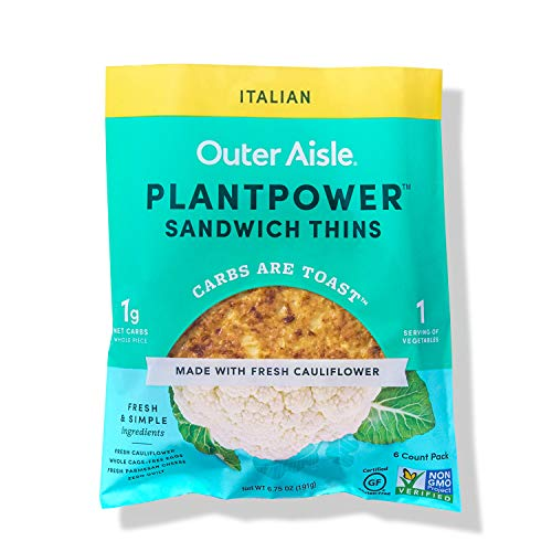 Outer Aisle Gourmet Cauliflower Sandwich Thins | Keto, Gluten Free, Low Carb & Paleo | Italian | 24 Sandwich Thins