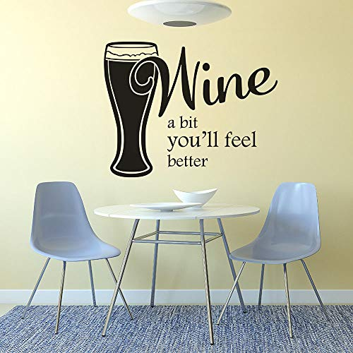 42 * 33cm Window Vinyl Sticker Wein A Bit You will Feel Better Quote Wall Decal Wine Wall Poster Remotable Bar Kitchen Decor