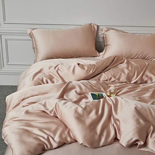CoutureBridal Juego de ropa de cama de 200 x 220 cm, satén champán, ropa de cama de verano con cremallera, elegante funda nórdica de 200 x 220 cm y 2 fundas de almohada de 80 x 80 cm