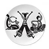 DIYthinker Dance Celebrate Mexico Totems Tambourine Decorative Porcelain Dessert Plate 8 inch Dinner
