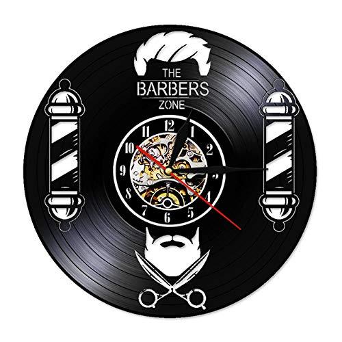 SKYTY Reloj De Pared De Vinilo Disco De Pared De Vinilo para Personalización del Nombre del Peluquero Decoración Moderna Y Vintage-sin luz led