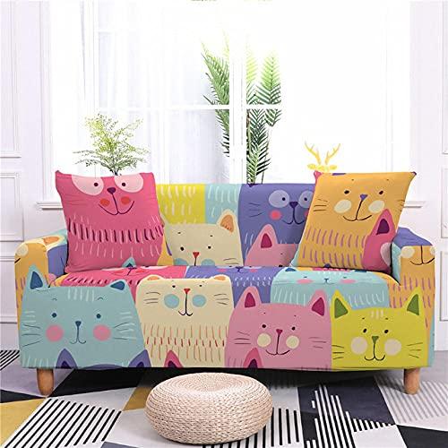 Niedliche Katzen Muster Sofabezug für Wohnzimmer Stuhl Sofa 1/2/3/4 Sitz Elastische Schonbezüge All Corners Sofa Möbel Stretch Set, CQ148,8,1, Sitz 90,140 cm