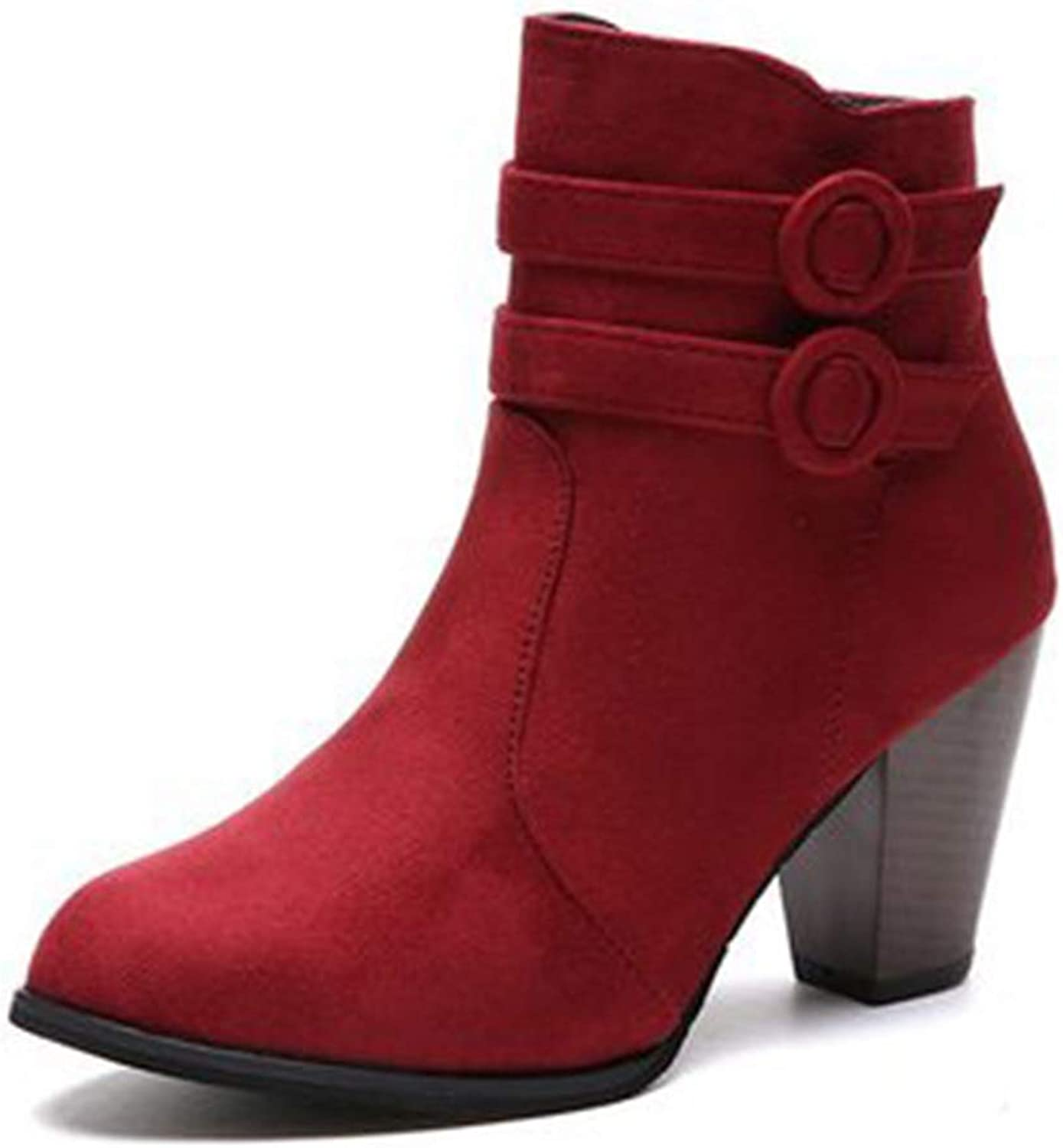 GIY Women's Round Toe Buckle Chunky Stacked Heel Ankle Boots Suede Platform Zip Bootie Martin Short Boots